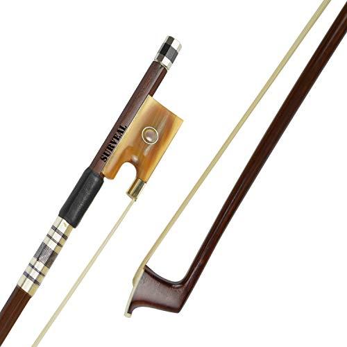 SURVEAL Prossionaler Brasilholz-Violinenbogen mit bestem Mongolei-Pferdeschwanz und bestem Elastik Größe 4/4 (4/4)