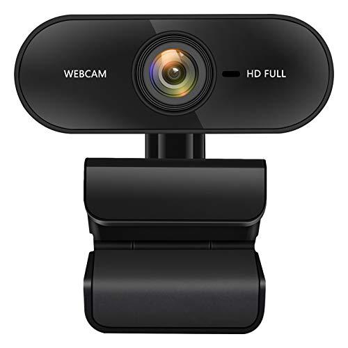 Webcam PC 1080P con Microfono Stereo Plug And Play Camera Web Messa a Fuoco Automatica, Correzione dell'esposizione per Android, Skype, Chat Video e Registrazione