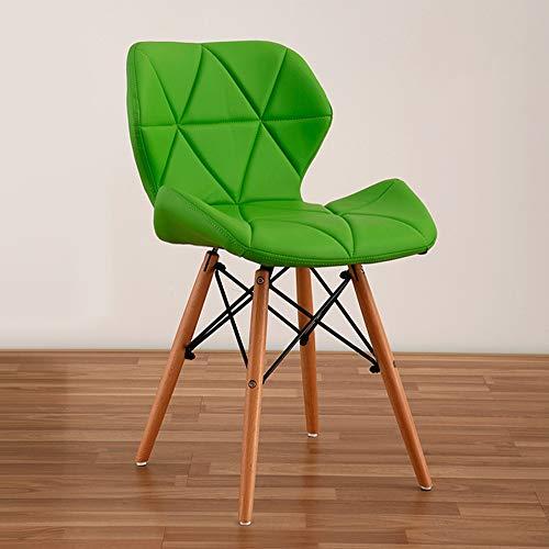 YUN HAI Chaise Longue de Chaise Design, siège rembourré Confortable, en Bois Massif Durable de Haute qualité et PU (Couleur : Green)