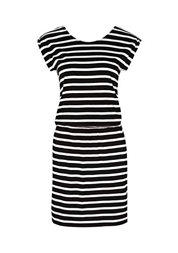 comma Damen Jerseykleid mit sportlichem Streifenmuster Black Stripes 38