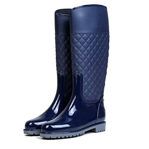 AONEGOLD Damen Gummistiefel Langschaft wasserdichte Regenstiefel Casual Garten Stiefel(Blau,37 EU)