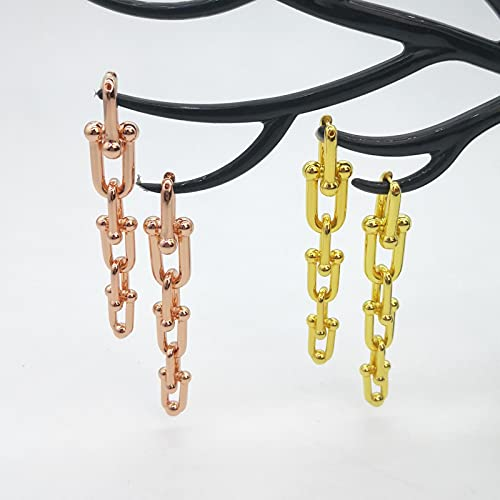 SONGK Lady Classic 925 Pendientes de botón de Plata esterlina Pendientes de Plata esterlina para Mujer del Alfabeto de Oro Rosa y Oro