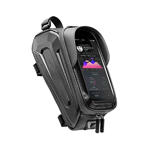 HJSW Bolsa Bicicleta Montaña Cuadro Impermeable, Soporte Manillar Móvil Bicicletas Accesorios Mochila Bicletas Frame Bag para iPhone 12/11/Max/Mini/Pro/XS Max/XR/X/7/8 Plus, 4.0''~6.7'' Teléfono