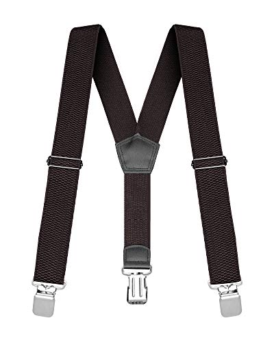 """Buyless Fashion Heavy Duty Textured Suspenders for Men - 48"""" Adjustable Straps 1 1/4"""" - Y Shape - 5117-Brown"""