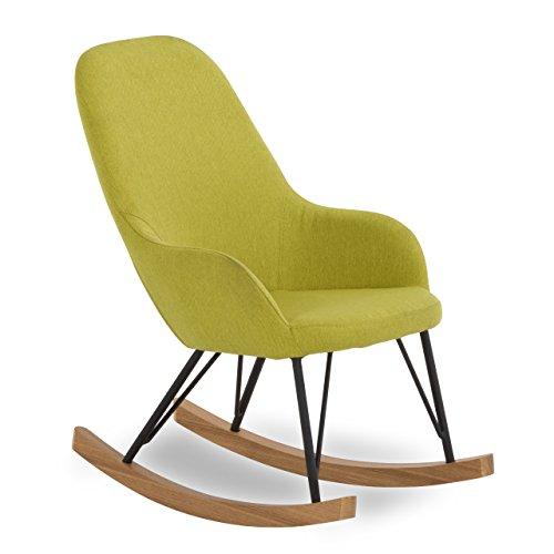 SalesFever Kinder Schaukel-Stuhl aus Stoff mit Armlehnen grün | Bob |Gemütlicher Lounge-Sessel für Kinder | Grüner Rocking-Chair ausgefallene Form