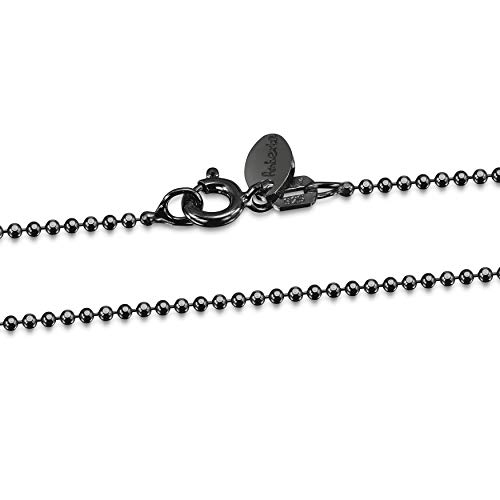 Amberta - Royal Black Collection - 925 Sterling Silver - 1.2 mm Ball Chain Necklace - Length 20 inch