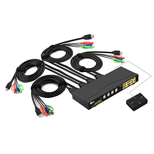 CKLau Ultra HD 4 Port HDMI 2.0 Cables KVM Switch with Audio and USB 2.0 Hub Support Keyboard Mouse Switching Max Resolution Up to 4Kx2K@60Hz 4:4:4 for Windows, Linux, Mac, Raspbian, Ubuntu