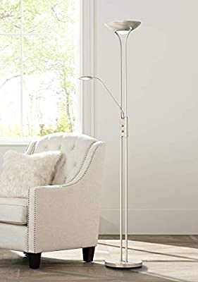Canby Modern Torchiere Floor Lamp with Side Light LED Brushed Nickel White Acrylic Diffuser Dimmable for Living Room Reading Bedroom Office - 360 Lighting
