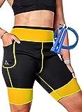 EDM - Pantalones Sauna para Mujer - Pantalones Neopreno Térmicos - Pantalón de Sudoración - Pantalones Cortos de Neopreno térmicos para Ejercicio - Mallas sudoración Mujer - Amarillo 2XL