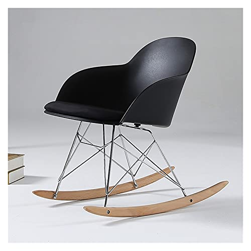 LANLANLife Silla de Mecedora plástica Moderna, sillón Elegante, Silla Mecedora con reposabrazos, diseño Moderno Minimalista (Color : Black)
