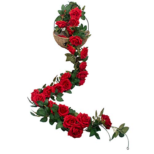 SHACOS 3 Stück Kunstblumen Seidenblumen Girlande Vintage Künstliche Blumen Rosen Rot Blumengirlande Künstlich Lang Rosengirlande Rot Hochzeit Party Dekor