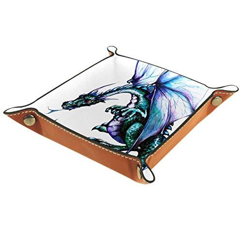 YATELI Caja de Almacenamiento pequeña, Bandeja de Valet para Hombre,dragón Azul,Organizador de Cuero para Llaves de Caja de Monedas