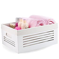 white wood organizing crate with handles