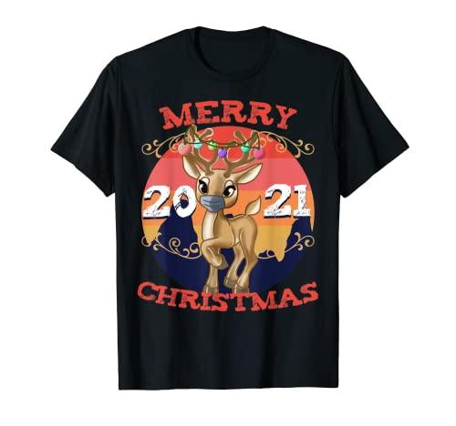 Lindo reno enmascarado divertido feliz Navidad 2021 niños traje Camiseta