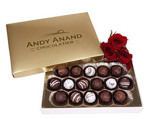 Andy Anand Chocolate Belgian Sugar Free Truffles 16 Pieces Gift Boxed & Greeting Card With Teddy Bear Truffles are Delicious, Succulent & Divine Christmas Valentines Day Birthday Anniversary