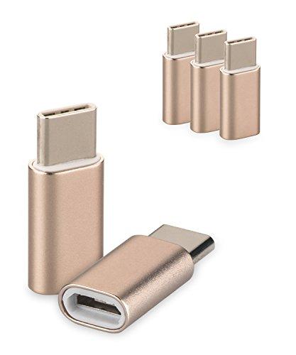 yayago 3er Set USB 3.1 Typ-C auf Micro USB Adapter für Acer Liquid Jade Primo/Asus Zenfone 3 Zoom/Asus Zenfone AR/Chuwi Hi 10 Pro/Medion Akoya P3401T Typ C Kabel Stecker Gold