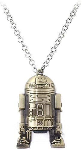 Yiffshunl Collar con Colgante de Nave Espacial de Star Wars, Collar con Gargantilla de Robot, Collar con Colgante Unisex de 50 cm para Mujeres y Hombres