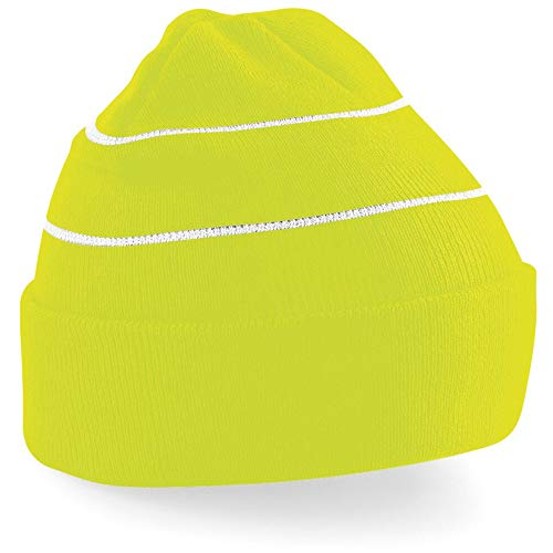 Beechfield Enhanced-viz Hi-Vis Knitted Winter Hat Casquette de Baseball, Yellow (Fluorescent Yellow), Taille Unique Mixte