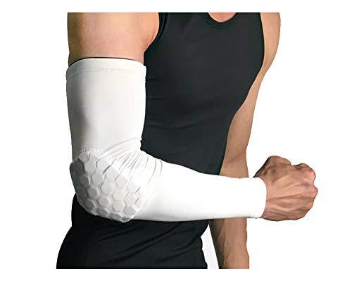 RGA Basketball Elbow Arm Guard Sleeve Padded Compression Protection Elbow Sleeve Padded Arm Sleeve for Football, Baseball, Outdoor Sports (White, M)