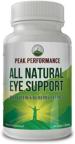 Eye Vitamins - Best Eye Support Supplement for Computer Users with Lutein, Zeaxanthin, Astaxanthin, Carotenoids, and Bilberry Extract. Great Protection for Eyes. 30 Vegan Capsules by Peak Performance