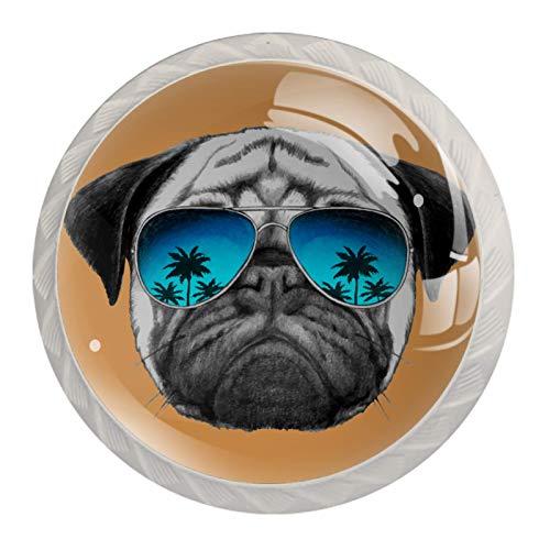 Perillas de armario de cocina, perillas decorativas redondas, armario, cajones, tocador, tirador, 4 piezas, divertido perro Pug con gafas, verano