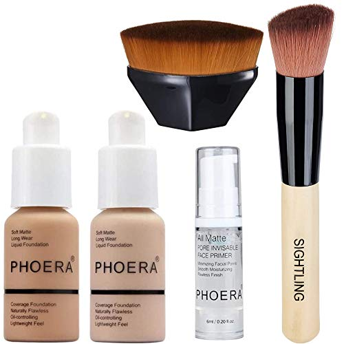 PHOERA 30ml Foundation Liquid Full Coverage 24HR Matte Oil Control Concealer (Nude #102)(Buff Beige #104) with Makeup Face Primer & Wooden Handle Foundation Brush & Petal-Shaped Cosmetics Brush