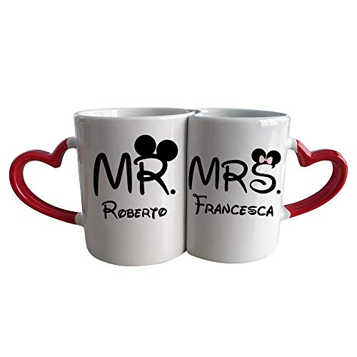 My Digital Print Coppia Tazze con Manico a Cuore, Mr&Mrs Personalizzata con Il Nome, Idea Regalo per San Valentino
