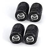 YSTC 4Pcs Tapas de Metal para Válvulas de Neumáticos para Mazda 2 3 5 6 Cx7 Cx5 Cx9 Cx-5 Cx3 MX-5 Speed 3 6 MS CX30, Antiruggine Antipolvo Tapones Coche VáLvula con Anillos de Goma, Valve Stem Caps