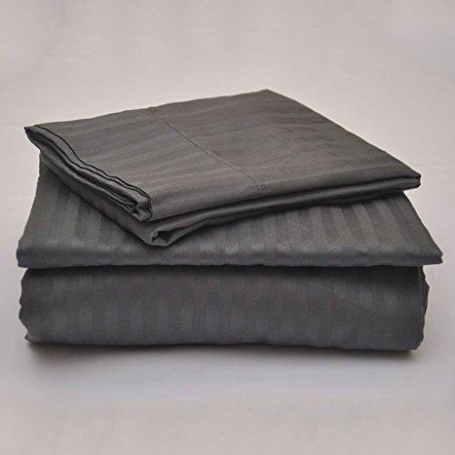 "Lusso Mercato 6 Piece Bed Sheet Set 400 Thread Count Long Staple Egyptian Cotton, Italian Finish Fitted Sheet fits Upto 15"" deep Pocket Mattress Full, Dark Grey Stripe"
