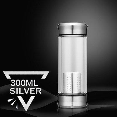 Mdsfe Glaswasserflasche mit losem Teefilter Teeinjektor Doppelglasflasche Demontage- und Montagethermosflasche 300ML 400ML - Splitter 300ml