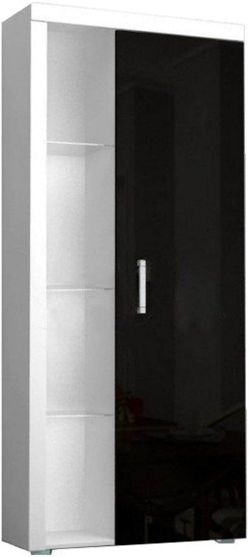Regal SAMBA Standregal mit Türen, Hochglanz, mit LED Beleuchtung (Wei   Schwarz Hochglanz)