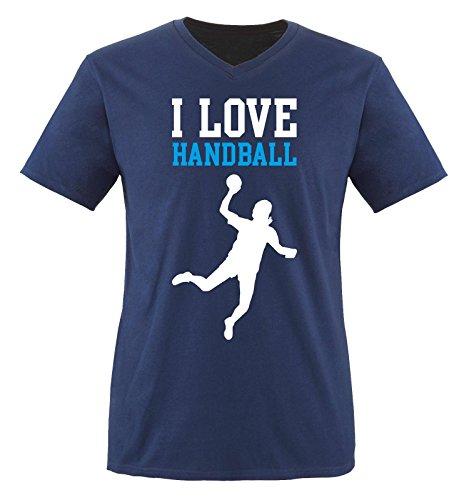 I Love Handball - Herren V-Neck T-Shirt - Navy/Weiss-Blau Gr. S