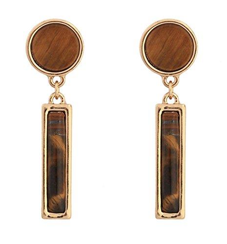 Epinki Women's Earrings Gold Plated Rounded Rectangular Brown TIGER 'S EYE STUD EARRINGS Women's Earrings 45mm