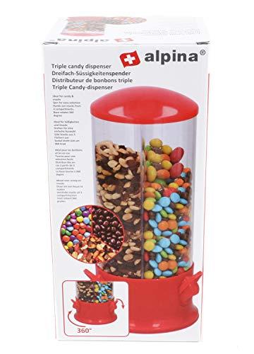 Alpina! - Dispenser per caramelle, arachidi, 3 scomparti, base girevole a 360°, ca. 31 cm, rosso/trasparente