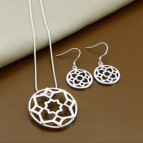 Tianziwen El último collar de la personalidad de la moda lindo collar redondo de la flor, pendientes juego de dos conjuntos
