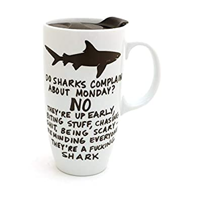Mature Monday Shark Travel Mug with Handle, Ceramic, Lennymud by Lorrie Veasey