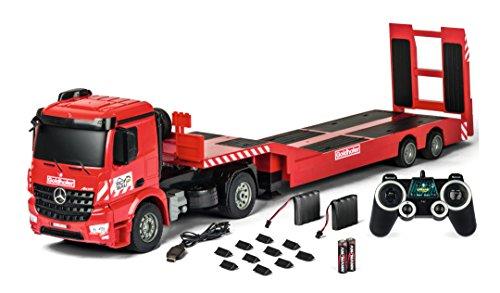 Carson 500907307 1:20 MB Arocs Goldhofer 2.4G 100% RTR, Ferngesteuertes Fahrzeug, Baufahrzeug mit Funktionen Licht und Sound, inkl. Batterien und Fernsteuerung, rot