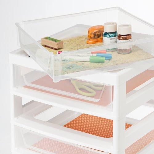 IRIS USA SBD-356 6-Drawer Scrapbook Cart with Organizer Top, White