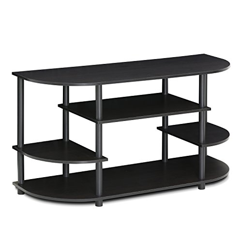 Furinno JAYA Simple Design Corner TV Stand, Espresso/Black
