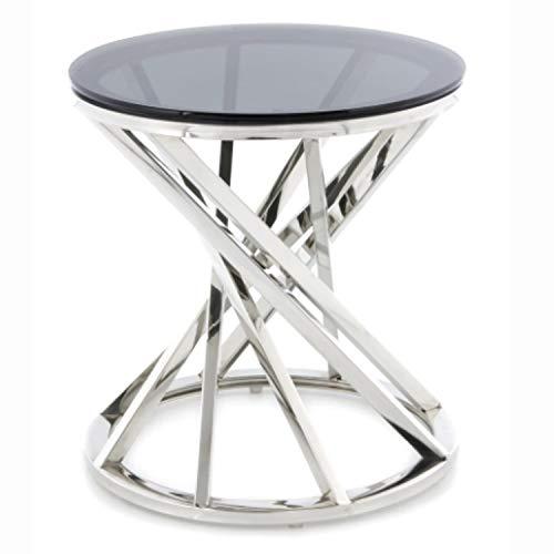 JYMTOM Beistelltisch Runder Glas Couchtisch Sofatisch Edelstahl Kaffeetisch Schreibtischmöbel Hellgrauer Teetisch aus gehärtetem Glas für Wohnzimmer Schlafzimmer, 50 cm rund Silber