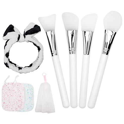 Masken pinsel, 4 Stück Silikon Maskenpinsel Set mit Haarbänder und Schwamm, Gesichtsmaske Pinsel Set Kosmetik Make-up Gesicht Bürste Beauty Produkte für DIY Maske Gesichtsmaske, Reinigungsmaske (Weiß)