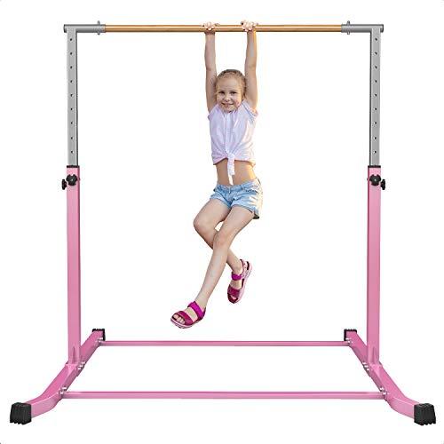 Gymbarpro Gymnastics Bars for Kids Adjustable Height Gymnastic Junior Training Bar Gymnastics Horizontal Kip Bar Equipment for Home