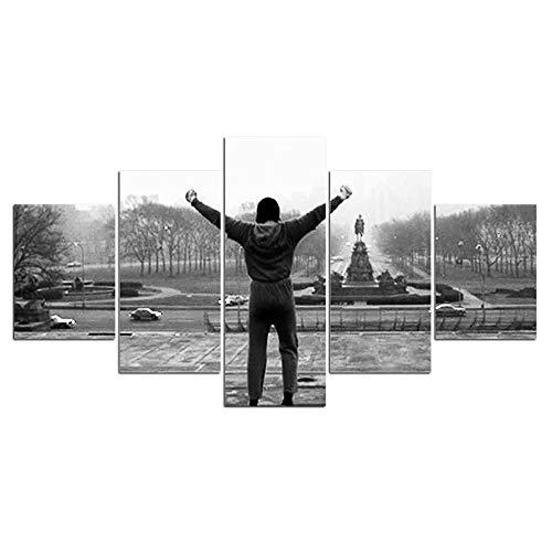 XINGS 5 Paneles Rocky Citas Inspiradoras Pintura Lienzo HD impresión Arte de Pared Cartel de película de 5 Piezas