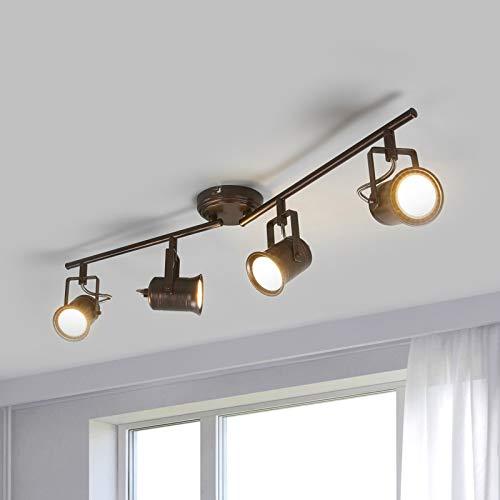 Lindby LED Deckenleuchte 'Cansu' (Landhaus, Vintage, Rustikal) in Braun aus Metall u.a. für Wohnzimmer & Esszimmer (4 flammig, GU10, A+, inkl. Leuchtmittel) - Lampe, LED-Deckenlampe, Deckenlampe