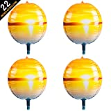 4D Balloons 22 Inch 4pcs hangable Large Round Sphere Shaped Aluminum Foil Ball Balloon for Party Birthday Wedding Baby Shower Deco Sunset