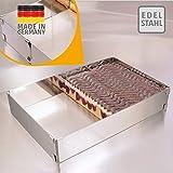 Cadre pâtisserie Vario – fabriquer et décorer des délices sucrés – cadre à pâtisserie rectangulaire, réglable, à fixation par pinces – moule pâtisserie rectangulaire en acier inoxydable, Made in Germany