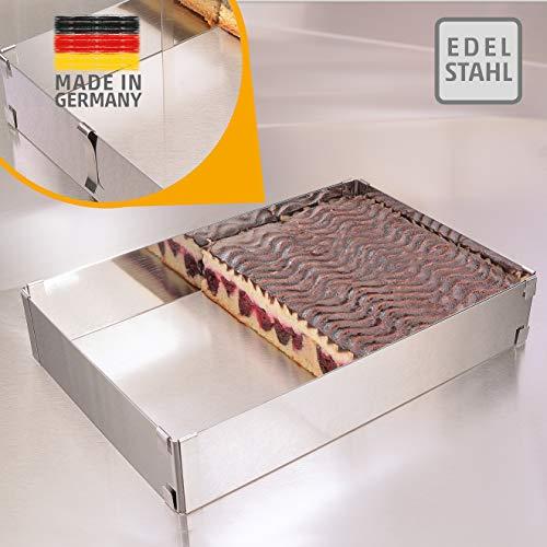 4smile Backrahmen – Edelstahl, Made in Germany - Backrahmen rechteckig verstellbar, mit Klammern zu fixieren – Backform rechteckig zum Backen und Dekorieren