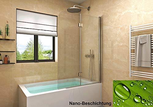 Badewannen Duschabtrennung Sicherheitsglas hell,Duschwand Duschabtrennung Nano Glas (120x140cm[BxH])
