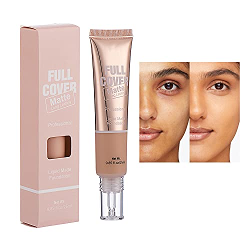 MAEPEOR Full Coverage Foundation 5 Colors Matte Oil Control Concealer Foundation Cream Lightweight and Non-greasy Long-lasting Moisturizing Face Makeup for All Skin Tone (04 Wheat)