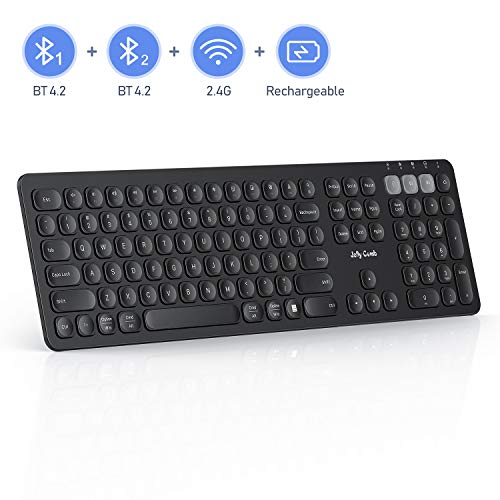 Multi-Device Bluetooth Keyboard, Jelly Comb Dual Mode (BT4.2+BT4.2+2.4G) Rechargeable 2.4G Wireless Bluetooth Keyboard Switch to 3 Devices for PC Laptop MacBook iOS Android Windows-Black